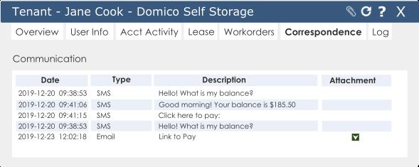 domicocloud correspondence logged screenshot