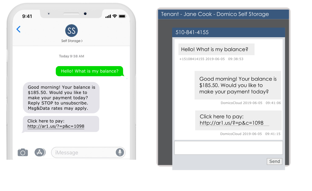 domicocloud send sms message to tenant screenshot